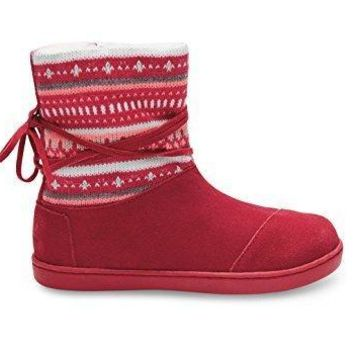 Toms Nepal Boots Fuchsia Suede Fair Isle 10006411 Youth