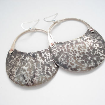 Unique Handmade Big Earrings-Silver Hand Hammered-Contemporary Cold Connection Earrings-Sterling Silver Hooks-Oxidized Patina Earrings