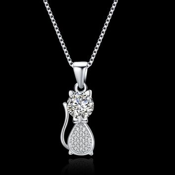 S925 Silver Necklace Cat Necklace
