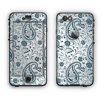 The Dark Green Highlighted Paisley Pattern Apple iPhone 6 LifeProof Nuud Case Skin Set