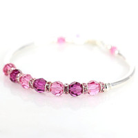 Pink crystal and sterling silver fitted bracelet