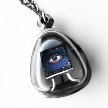 Evil Eye Necklace, Evil Eye Pendant, Tiny Painting Locket, Tiny Art Necklace, Miniature Painting Necklace, All Seeing Eye, Miniature Jewelry