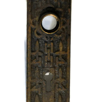Decorative Door Plate. Ornate Brass Door Plate. Brass Escutcheon. Antique Door Plate. Doorknob Plate. Architectural Salvage. Eastlake.
