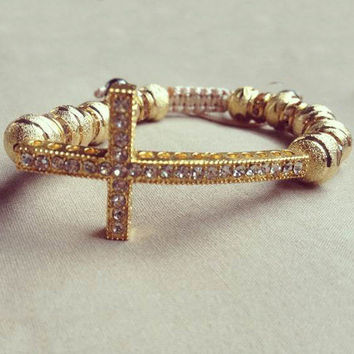 Hand Made Bracelet Cross Golden Ball