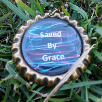 Bible Verse Pendant, Bottle cap necklace, Ephesians  2:5, Saved by grace, Christian Jewelry, Handmade Jewelry