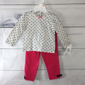 Little Me Girls Polka Dot Top and Pink Bottom Set, Size 12M