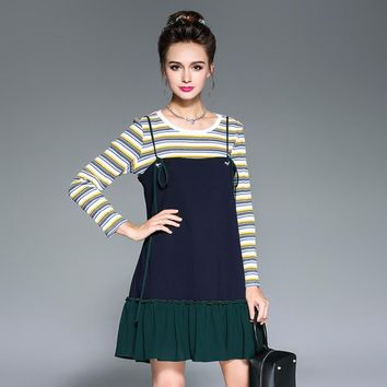 OUYALIN 2 pc Long Sleeve Striped Top and Ruffled Skirt Set (Plus Sizes to 5XL)