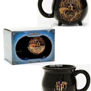 Licensed cool Harry Potter Black Cauldron Coffee Mug 12 oz. Ceramic Amortentia LOVE Potion NIB