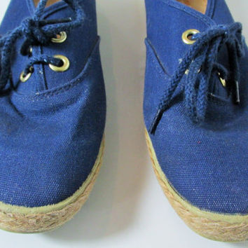 Vintage Blue Espadrille Lace Up Flats Sz 7.5