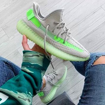 Adidas Yeezy Boost 350 V2 Fashion running shoes Grey&green