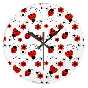 Red Ladybug Lady Bug Floral White Flowers Large Clock