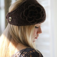 Thick Brown Knitted Headband or Neck Warmer with Flower and Button