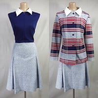 VINTAGE 60s Red White & Blue Scooter Dress Set