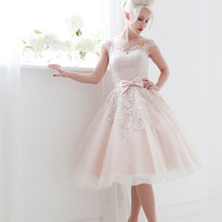 Frosty Pink Modest Retro Tea Length Wedding Dress DV2076