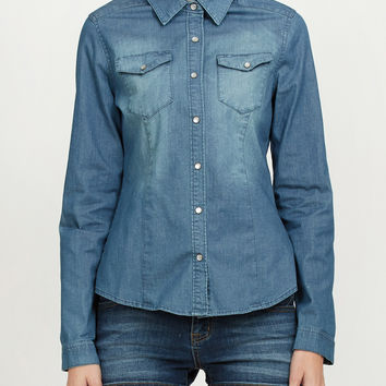 LE3NO Womens Long Sleeve Chambray Denim Shirt