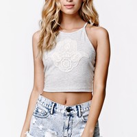 LA Hearts Henna Hand Cropped Goddess Tank - Womens Tee - Grey