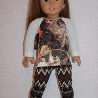 graphic print high low long sleeve shirt, geometric print leggings, 18 inch doll clothes,  American Girl, Maplelea