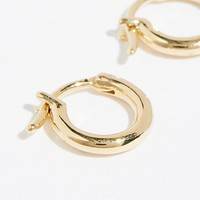 14k Tube Huggie Hoops
