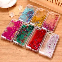Clear Transparent Glitter Stars Dynamic Liquid Quicksand Hard Case Meteor Twinkling Cover for iPhone 4 5 C S 6 6S Plus