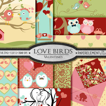 Valentines Digital Paper: Love Bird Digital Paper with Dove, Penguin, Owl Scrapbook Backdrops - Printable Valentine Background Birds Paper