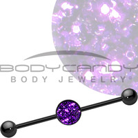 Purple Haze Glitter Industrial Barbell | Body Candy Body Jewelry