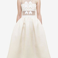 White Mesh Cut-Out Sleeveless Pleated Dress with Arrow Appliques