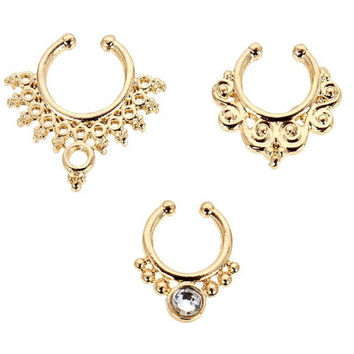 GOLD BOHO FAUX Septum Piercing Set of 3 : Fake Septum, Gold Septum, Faux Body Jewelry, Festival Fashion, Nose Ring