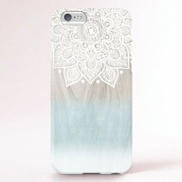 iPhone 6 Case, iPhone 6 Plus Case, iPhone 5S Case, iPhone 5 Case, iPhone 5C Case, iPhone 4S Case, iPhone 4 Case - Mandala wood ombre mint
