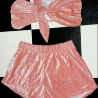SWEET LORD O'MIGHTY! VELVET BABY SET IN PEACH