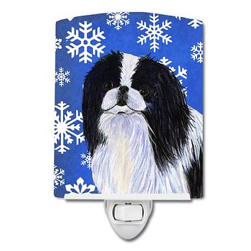 Japanese Chin Winter Snowflakes Holiday Ceramic Night Light SS4605CNL