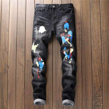 Jeans Men Hip Hop Street Style Biker Ripped Skinny Straight Patterned Men'S Casual Slim Punk Zipper Distressed Jean