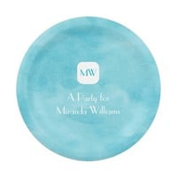 Simple and Chic Aqua Turquoise Monogram With Name 7 Inch Paper Plate