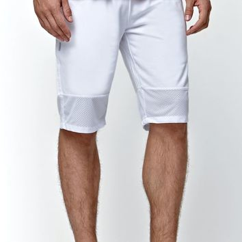 Fairplay Brand Zander Fleece Mesh Shorts - Mens Shorts - White