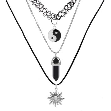 MJARTORIA 3PCs Chinese Taoism Sign Eight Diagrams Jewelry Men Women Locket Wire Wrapped Pendant Necklace Fashion Jewelry