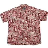 Vintage 90s Eddie Bauer Linen Hawaiian Shirt in Red Mens Size Large