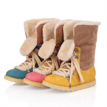 size 34-43 new 2014 fashion fur inside female ankle boots snow women boots women's autumn winter boots shoes woman = 1931736068