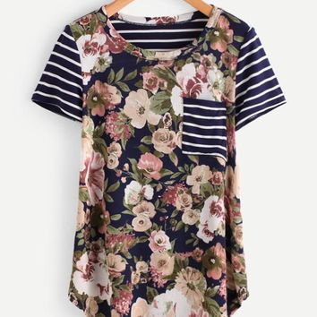Navy Stripes & Mauve Floral Pocket Tee