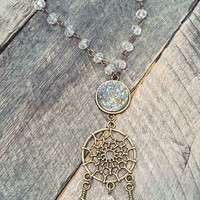 Bronze tone dreamcatcher crystal druzy necklace