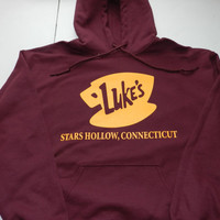 Gilmore Girls Luke's Diner Hooded Hoodie Sweatshirt Drawstring Pouch Pocket 50/50 Blend Screen Print Lorelai Rory Lane Emily Richard Luke