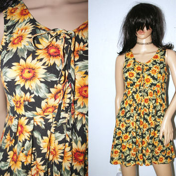 90s Grunge Vintage Sunflower Babydoll Mini Dress