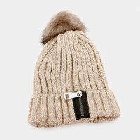 Women's Beige Soft Knit Fluffy Fur Pom Pom Zipper Detail Beanie Cap Hat