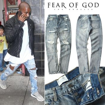 Fear Of God Jeans Men FOG Kanye Omari West Destroyed Skinny Slim Fit Pants Justin Bieber Vintage Ripped Denim Fear Of God Jeans