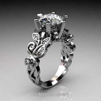 Nature Inspired 14K White Gold 3.0 Ct White Sapphire Diamond Leaf and Vine Crown Solitaire Ring RD101-14KWGDWS