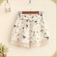 Kawaii animal Multi-pattern print lacing bow Elastic waist loose  casual shorts  mori girl 2016 summer