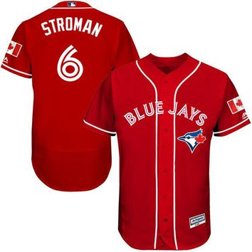 Men's Toronto Blue Jays Marcus Stroman Majestic Scarlet Fashion Canada Day Flex Base Authentic Player Jersey