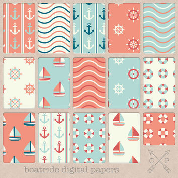 Nautical digital papers with anchors, boats, waves and lifesavers in coral, blue, off-white. Great for backgrounds and crafting / printing