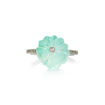 M'O Exclusive One-Of-A-Kind Light Emerald Carved Bead Ring | Moda Operandi