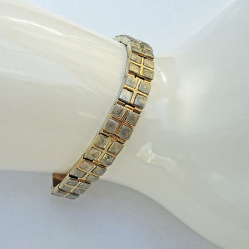 Vintage gold and silver tone link bracelet, Signed Monet Link Bracelet, UK Seller