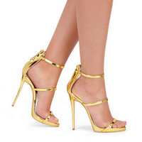 New Silver Gold Black Leather Gladiator Sandals Women High Heels Simple Three Straps Cross Foot Sandals Shoes Woman Sandalias