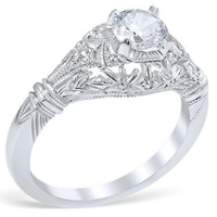 "Whitehouse Brothers ""Edwardian Blossom"" Vintage Style Diamond Engagement Ring"